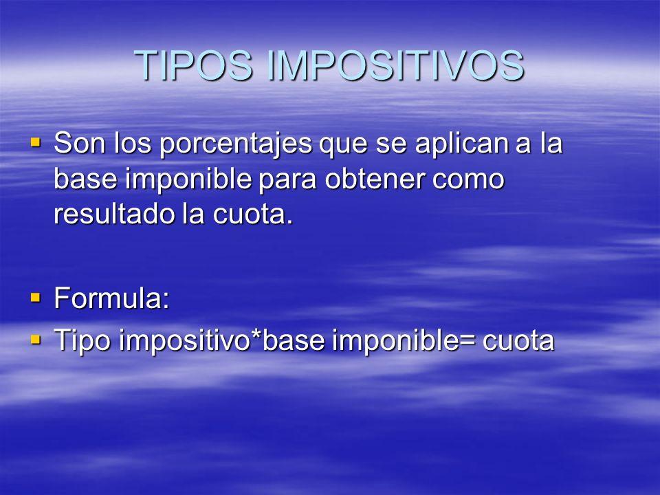 TIPOS IMPOSITIVOS Son los porcentajes que se aplican a la base imponible para obtener como resultado la cuota. Son los porcentajes que se aplican a la