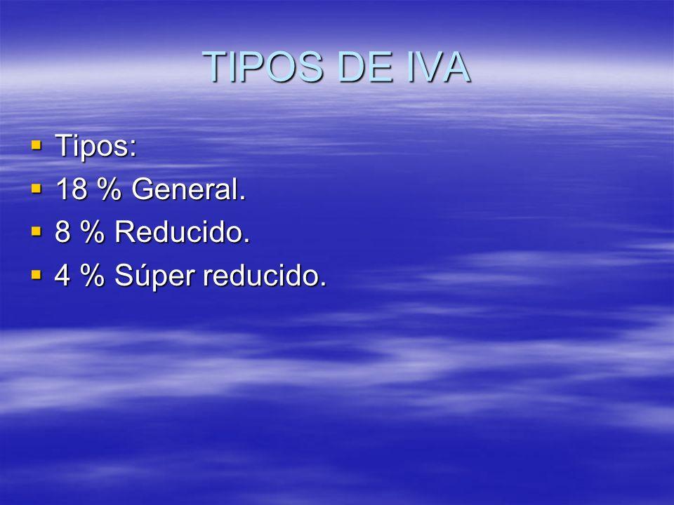 TIPOS DE IVA Tipos: Tipos: 18 % General. 18 % General. 8 % Reducido. 8 % Reducido. 4 % Súper reducido. 4 % Súper reducido.