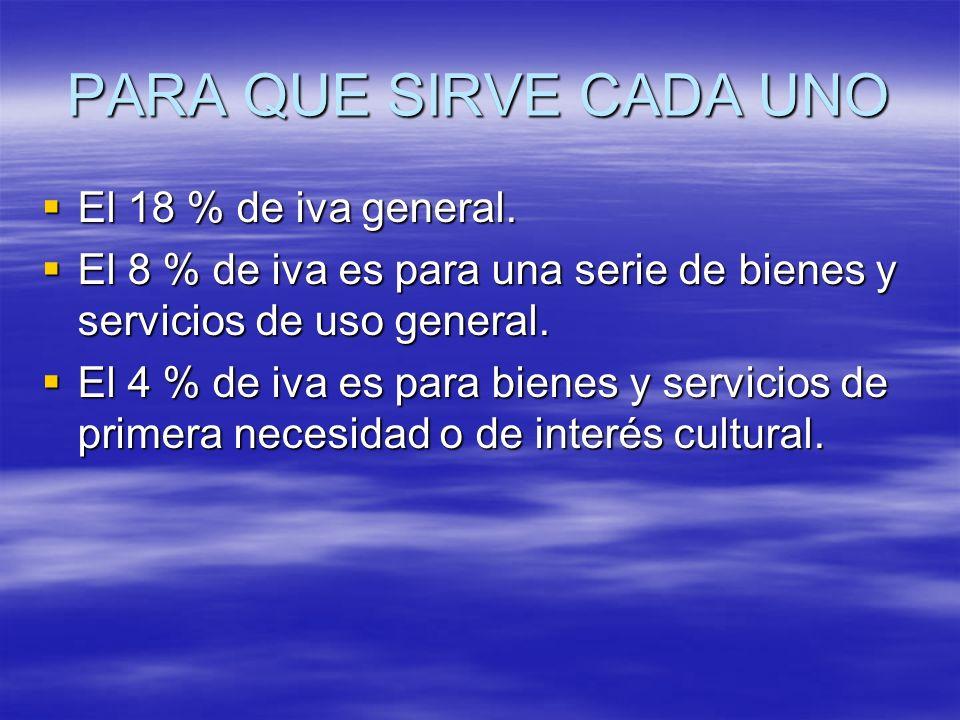 PARA QUE SIRVE CADA UNO El 18 % de iva general. El 18 % de iva general. El 8 % de iva es para una serie de bienes y servicios de uso general. El 8 % d