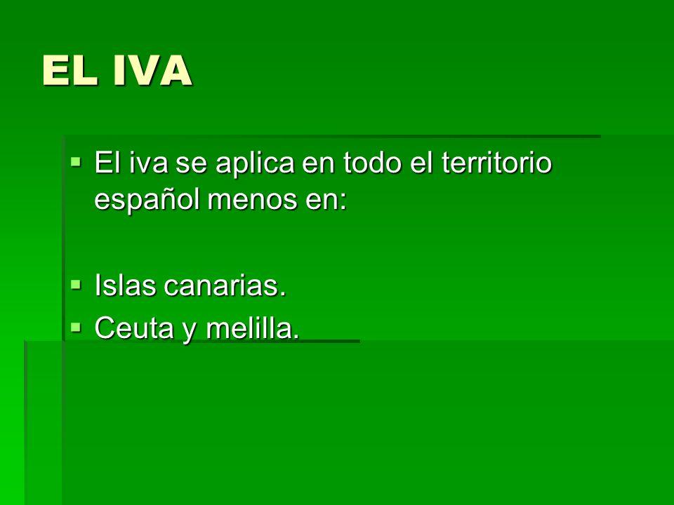 EL IVA El iva se aplica en todo el territorio español menos en: El iva se aplica en todo el territorio español menos en: Islas canarias. Islas canaria