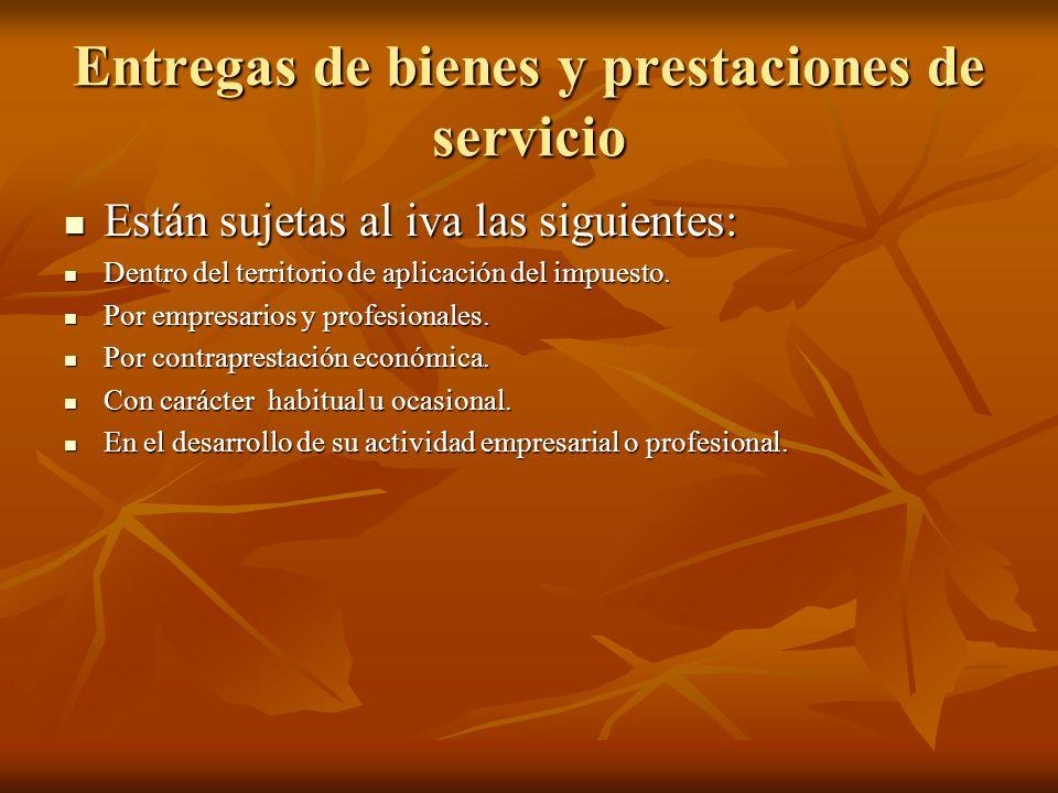 Entregas de bienes y prestaciones de servicio Están sujetas al iva las siguientes: Están sujetas al iva las siguientes: Dentro del territorio de aplic