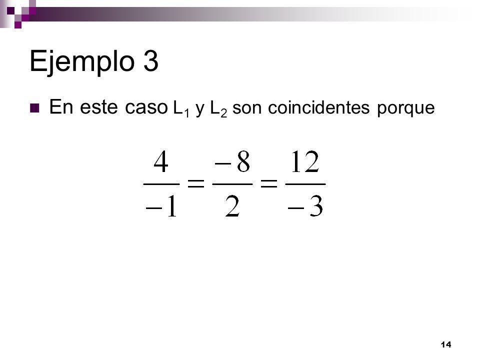 14 Ejemplo 3 En este caso L 1 y L 2 son coincidentes porque