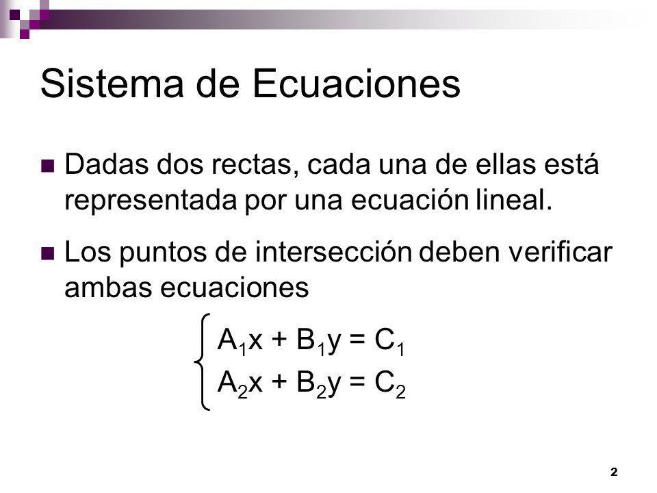 3 Sistema de Ecuaciones Decir que las rectas son transversales es lo mismo que decir que el sistema de ecuaciones tiene una única solución.