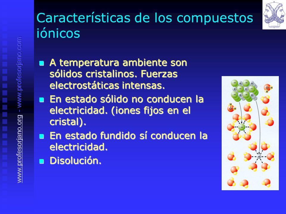 Características de los compuestos iónicos A temperatura ambiente son sólidos cristalinos. Fuerzas electrostáticas intensas. A temperatura ambiente son