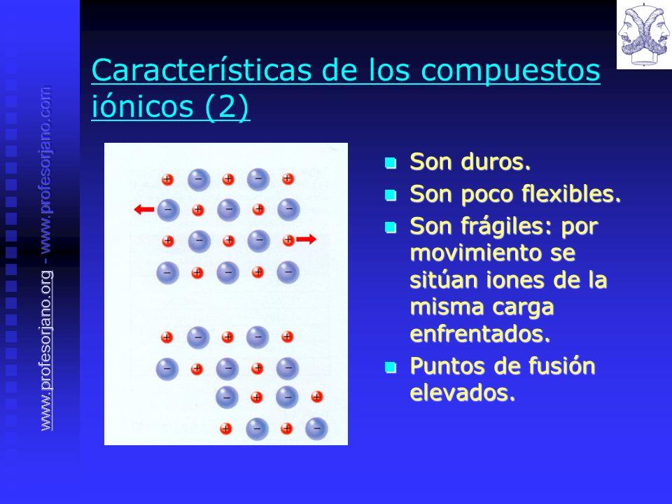 Características de los compuestos iónicos (2) Son duros. Son duros. Son poco flexibles. Son poco flexibles. Son frágiles: por movimiento se sitúan ion