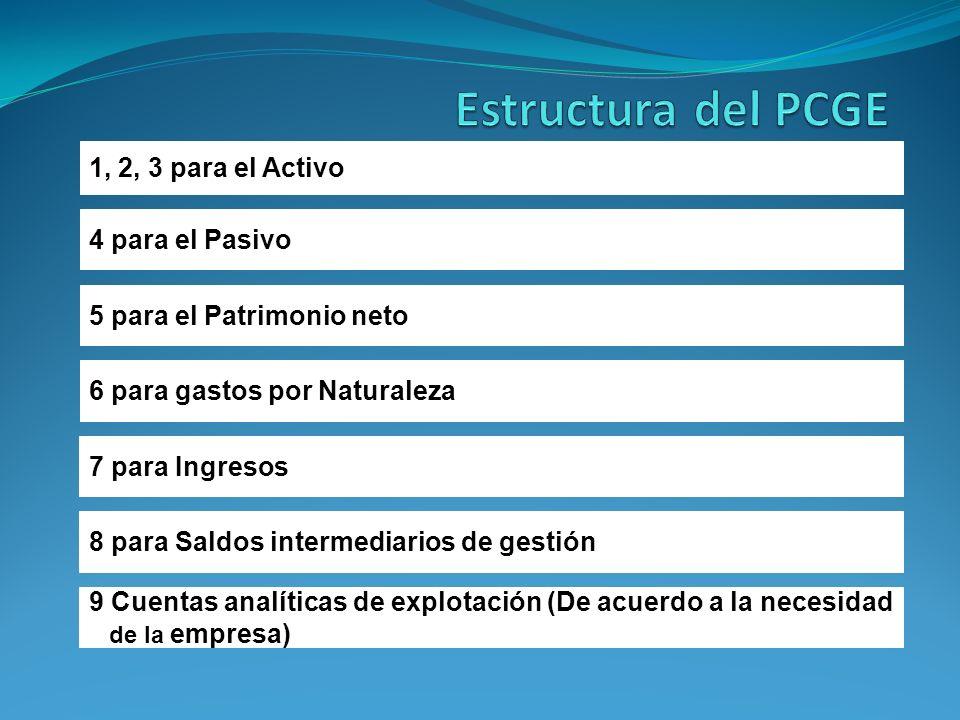 1, 2, 3 para el Activo 4 para el Pasivo 5 para el Patrimonio neto 6 para gastos por Naturaleza 7 para Ingresos 8 para Saldos intermediarios de gestión