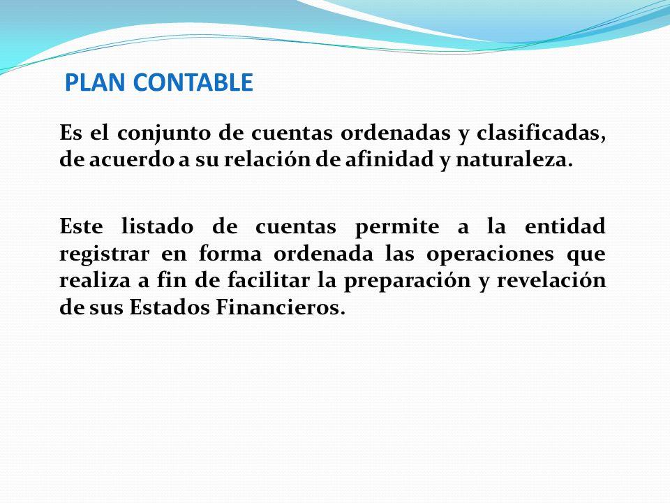 PLAN CONTABLE Es el conjunto de cuentas ordenadas y clasificadas, de acuerdo a su relación de afinidad y naturaleza. Este listado de cuentas permite a