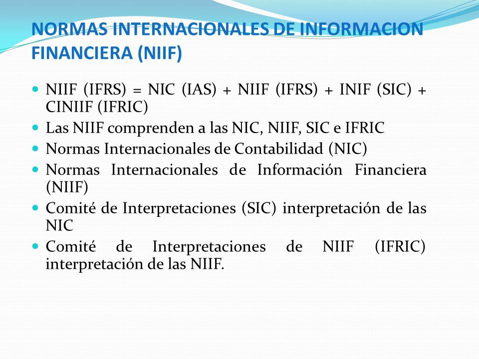NORMAS INTERNACIONALES DE INFORMACION FINANCIERA (NIIF) NIIF (IFRS) = NIC (IAS) + NIIF (IFRS) + INIF (SIC) + CINIIF (IFRIC) Las NIIF comprenden a las