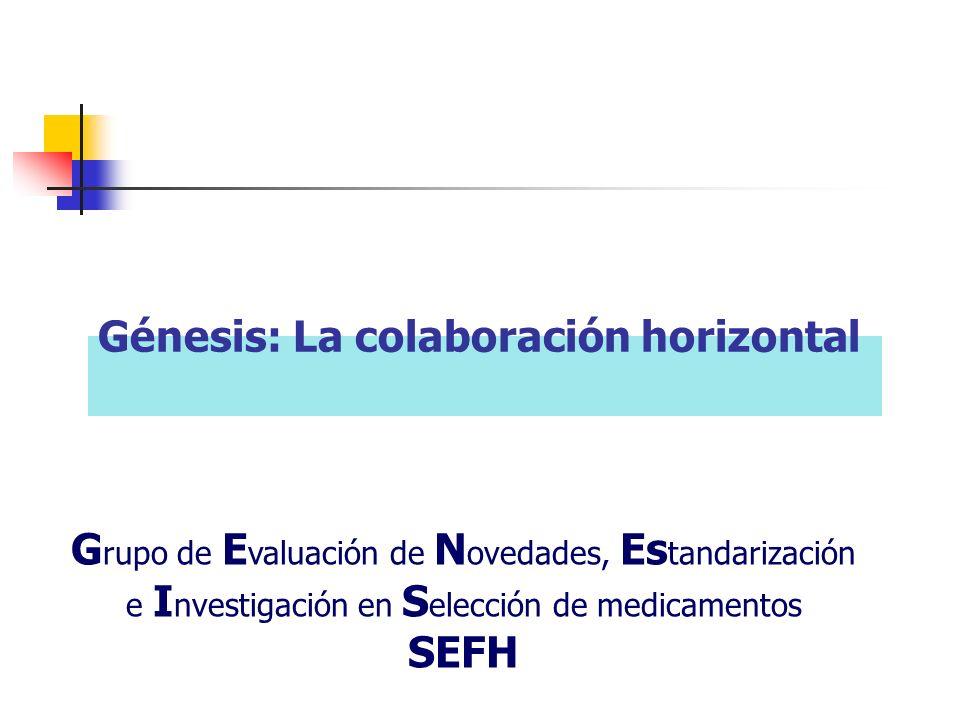 Génesis: La colaboración horizontal G rupo de E valuación de N ovedades, Es tandarización e I nvestigación en S elección de medicamentos SEFH