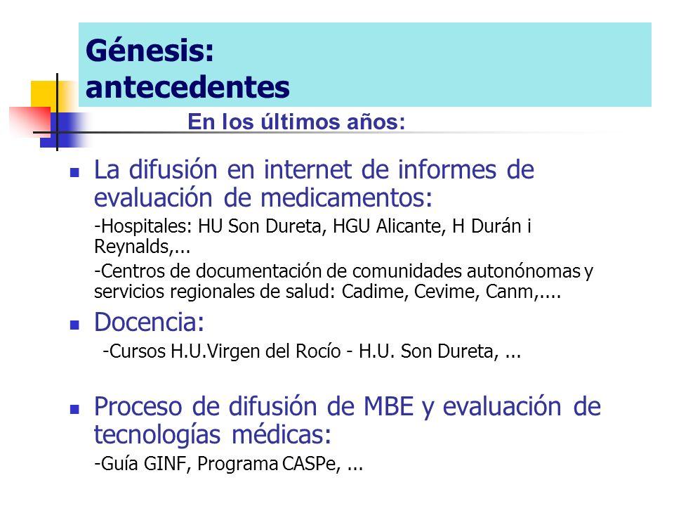 La difusión en internet de informes de evaluación de medicamentos: -Hospitales: HU Son Dureta, HGU Alicante, H Durán i Reynalds,... -Centros de docume