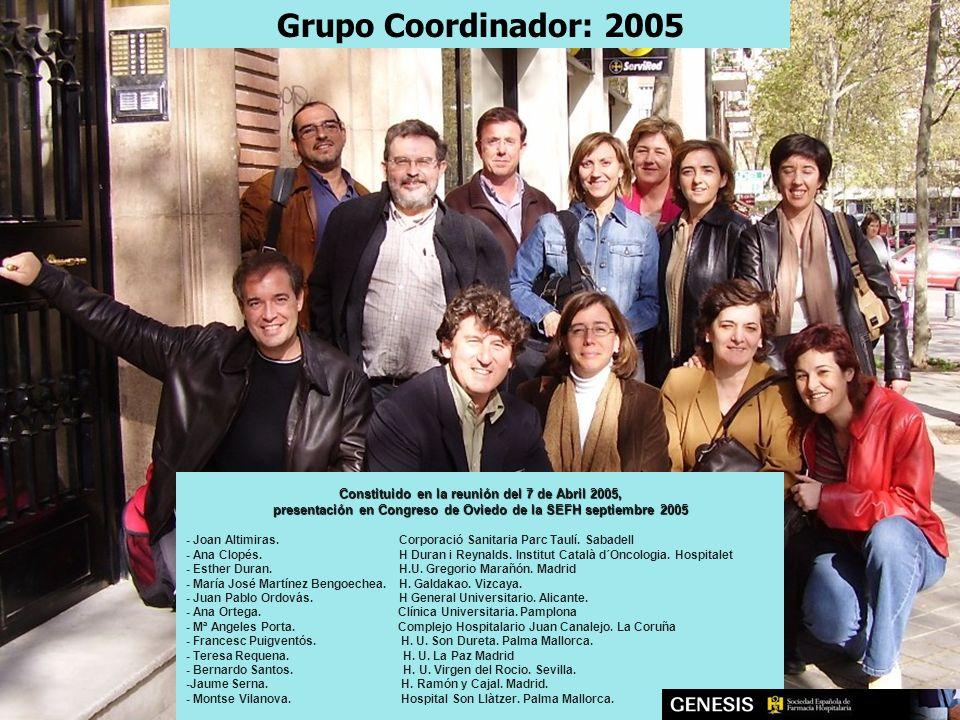 Constituido en la reunión del 7 de Abril 2005, presentación en Congreso de Oviedo de la SEFH septiembre 2005 - Joan Altimiras. Corporació Sanitaria Pa