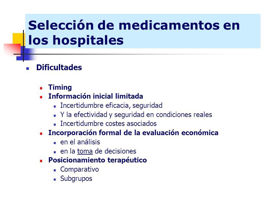 Selección de medicamentos en los hospitales Dificultades Timing Información inicial limitada Incertidumbre eficacia, seguridad Y la efectividad y segu