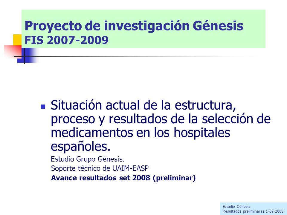 Situación actual de la estructura, proceso y resultados de la selección de medicamentos en los hospitales españoles. Estudio Grupo Génesis. Soporte té
