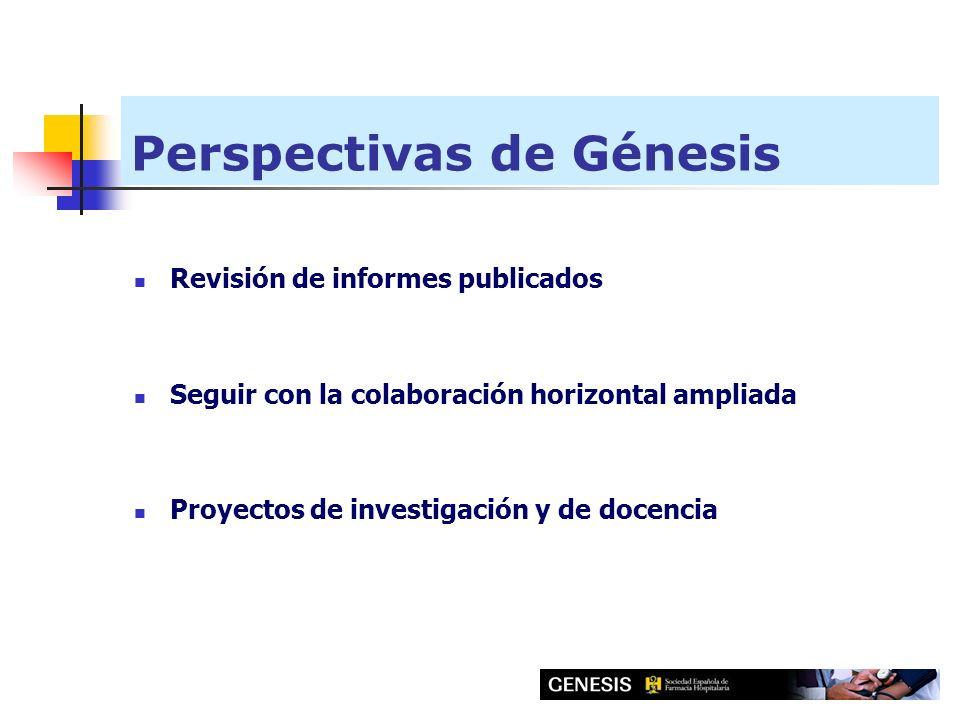 Perspectivas de Génesis Revisión de informes publicados Seguir con la colaboración horizontal ampliada Proyectos de investigación y de docencia