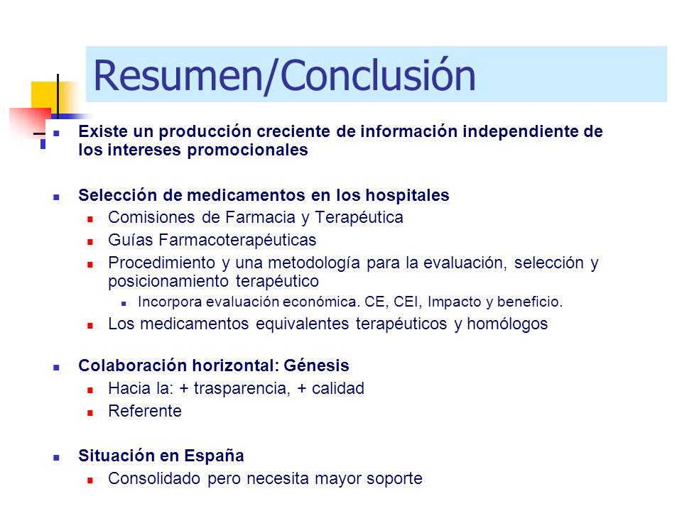 Resumen/Conclusión Existe un producción creciente de información independiente de los intereses promocionales Selección de medicamentos en los hospita