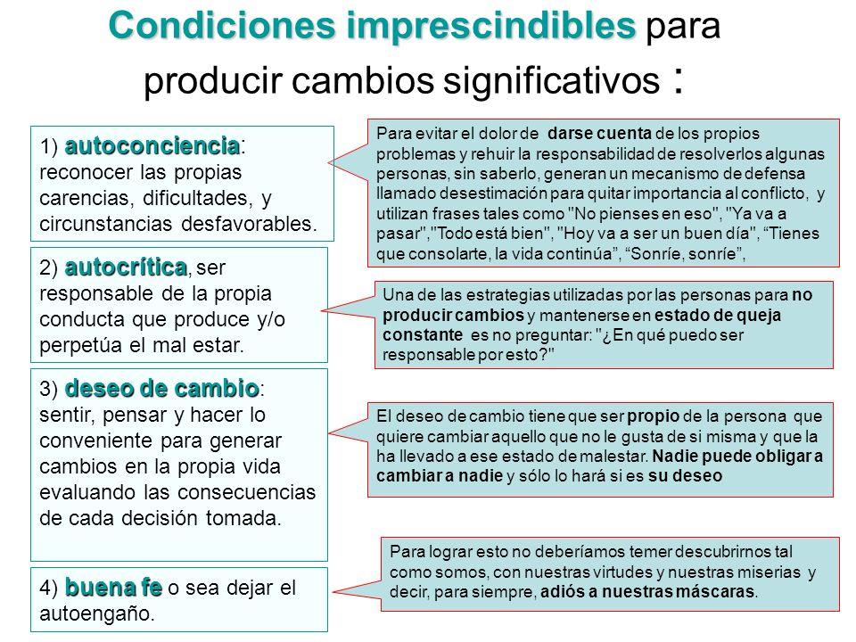 Condiciones imprescindibles Condiciones imprescindibles para producir cambios significativos : buena fe 4) buena fe o sea dejar el autoengaño. Para ev