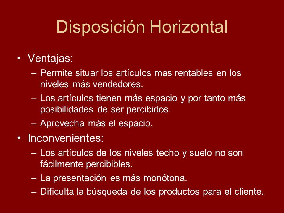 Disposición Horizontal Ventajas: –Permite situar los artículos mas rentables en los niveles más vendedores. –Los artículos tienen más espacio y por ta