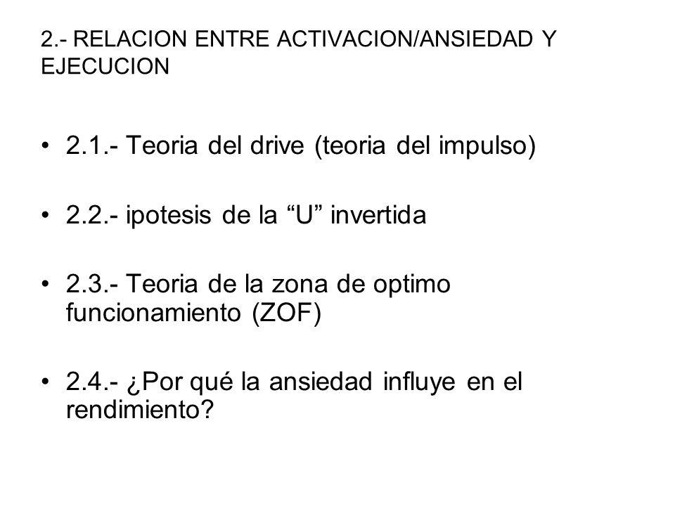 2.- RELACION ENTRE ACTIVACION/ANSIEDAD Y EJECUCION 2.1.- Teoria del drive (teoria del impulso) 2.2.- ipotesis de la U invertida 2.3.- Teoria de la zon