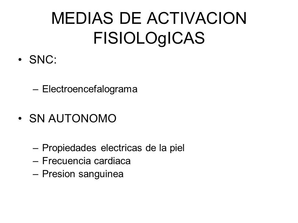 MEDIAS DE ACTIVACION FISIOLOgICAS SNC: –Electroencefalograma SN AUTONOMO –Propiedades electricas de la piel –Frecuencia cardiaca –Presion sanguinea
