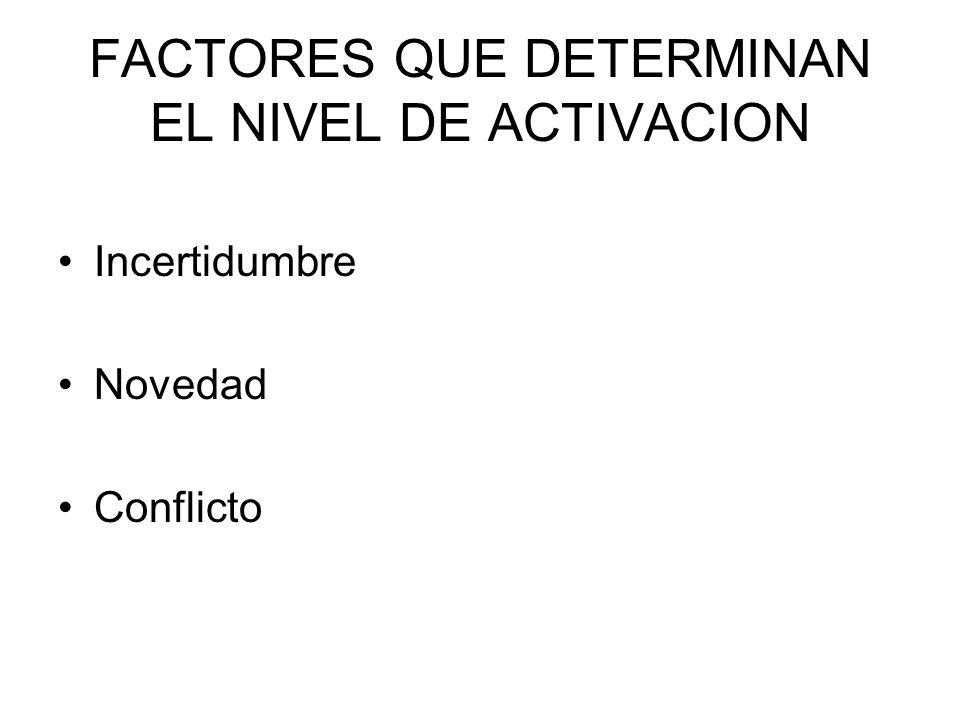 FACTORES QUE DETERMINAN EL NIVEL DE ACTIVACION Incertidumbre Novedad Conflicto
