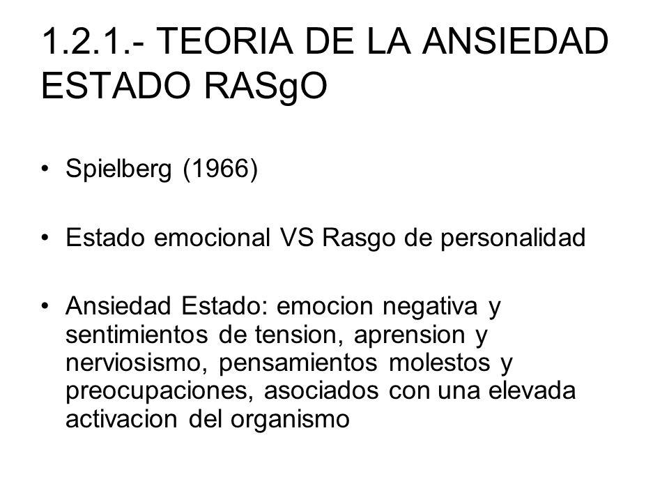 1.2.1.- TEORIA DE LA ANSIEDAD ESTADO RASgO Spielberg (1966) Estado emocional VS Rasgo de personalidad Ansiedad Estado: emocion negativa y sentimientos