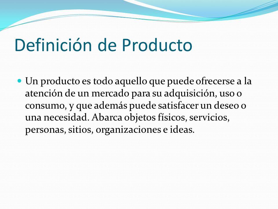 Definición de Producto Un producto es todo aquello que puede ofrecerse a la atención de un mercado para su adquisición, uso o consumo, y que además pu
