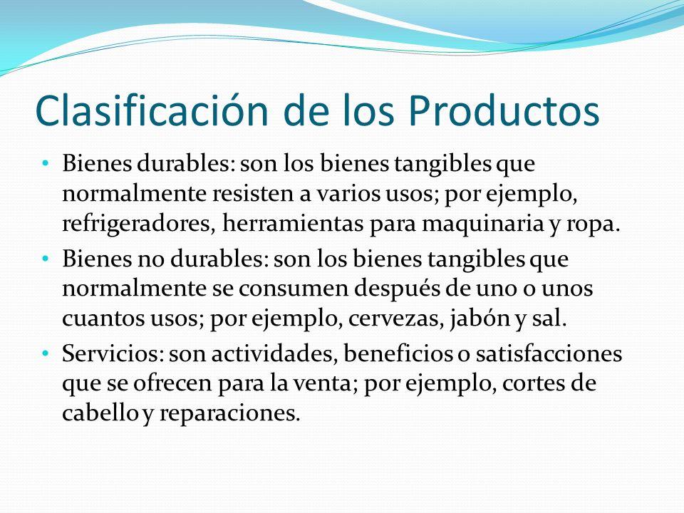 Clasificación de los Productos Bienes durables: son los bienes tangibles que normalmente resisten a varios usos; por ejemplo, refrigeradores, herramie