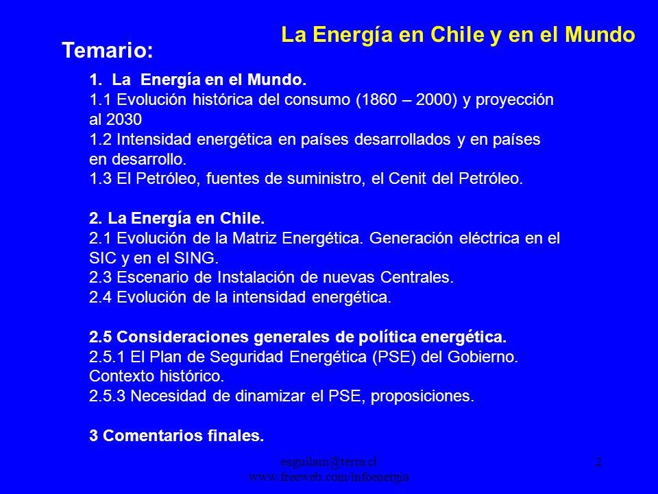 eaguilam@terra.cl www.freeweb.com/infoenergia 2 La Energía en Chile y en el Mundo Temario: 1.