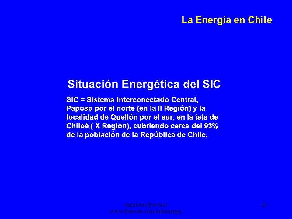 eaguilam@terra.cl www.freeweb.com/infoenergia 28 La Energía en Chile Situación Energética del SIC SIC = Sistema Interconectado Central, Paposo por el norte (en la II Región) y la localidad de Quellón por el sur, en la isla de Chiloé ( X Región), cubriendo cerca del 93% de la población de la República de Chile.