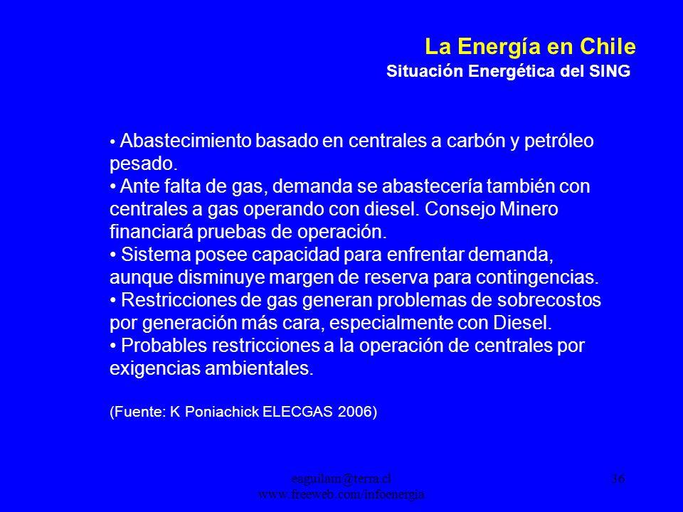 eaguilam@terra.cl www.freeweb.com/infoenergia 36 La Energía en Chile Situación Energética del SING Abastecimiento basado en centrales a carbón y petróleo pesado.