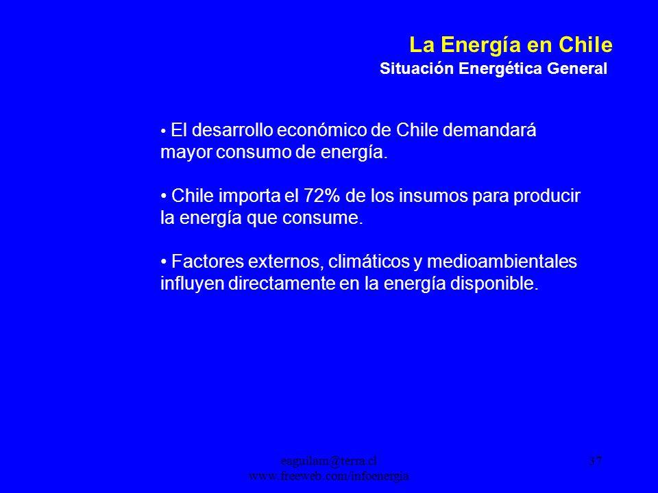 eaguilam@terra.cl www.freeweb.com/infoenergia 37 La Energía en Chile Situación Energética General El desarrollo económico de Chile demandará mayor consumo de energía.
