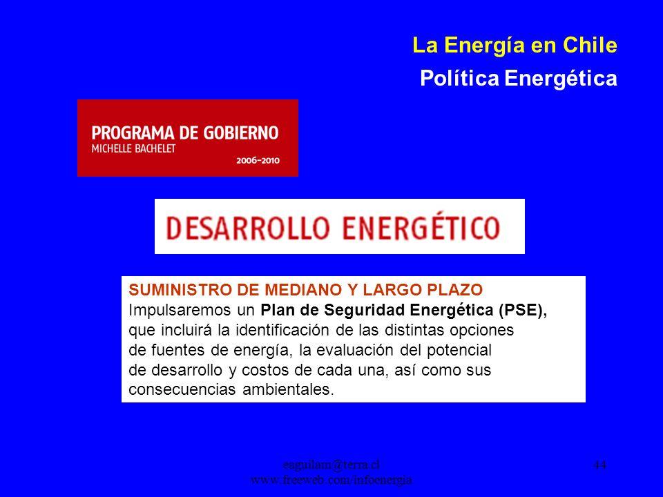 eaguilam@terra.cl www.freeweb.com/infoenergia 44 La Energía en Chile Política Energética SUMINISTRO DE MEDIANO Y LARGO PLAZO Impulsaremos un Plan de Seguridad Energética (PSE), que incluirá la identificación de las distintas opciones de fuentes de energía, la evaluación del potencial de desarrollo y costos de cada una, así como sus consecuencias ambientales.