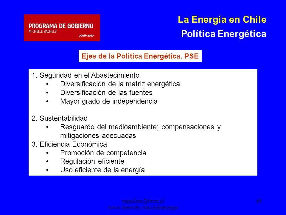 eaguilam@terra.cl www.freeweb.com/infoenergia 45 La Energía en Chile Política Energética Ejes de la Política Energética.