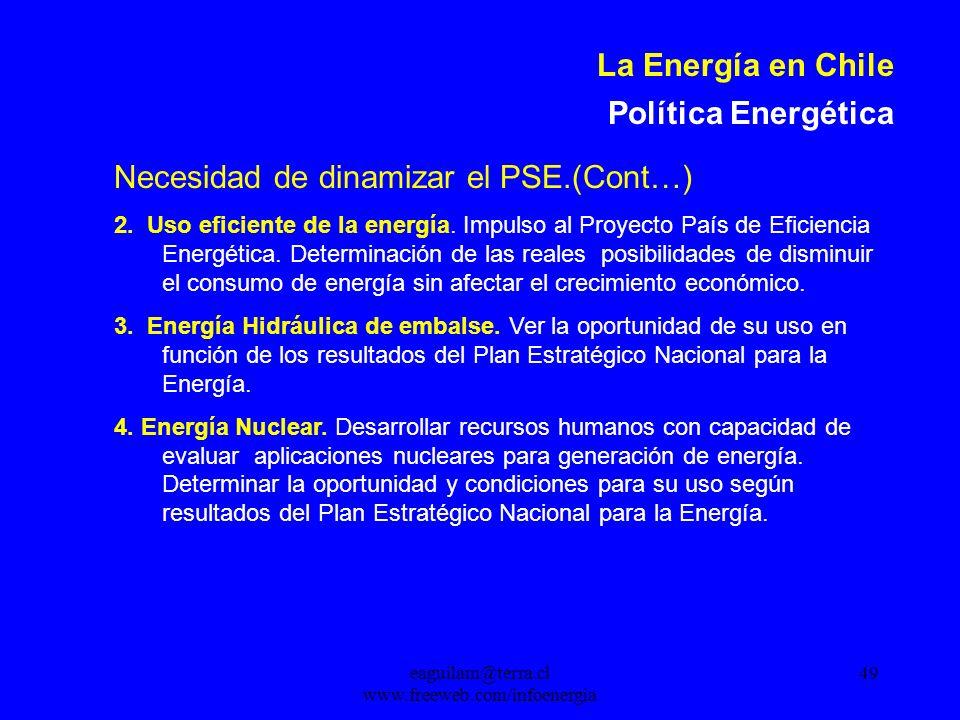 eaguilam@terra.cl www.freeweb.com/infoenergia 49 La Energía en Chile Política Energética Necesidad de dinamizar el PSE.(Cont…) 2.