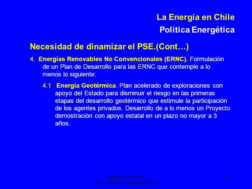 eaguilam@terra.cl www.freeweb.com/infoenergia 50 La Energía en Chile Política Energética Necesidad de dinamizar el PSE.(Cont…) 4.