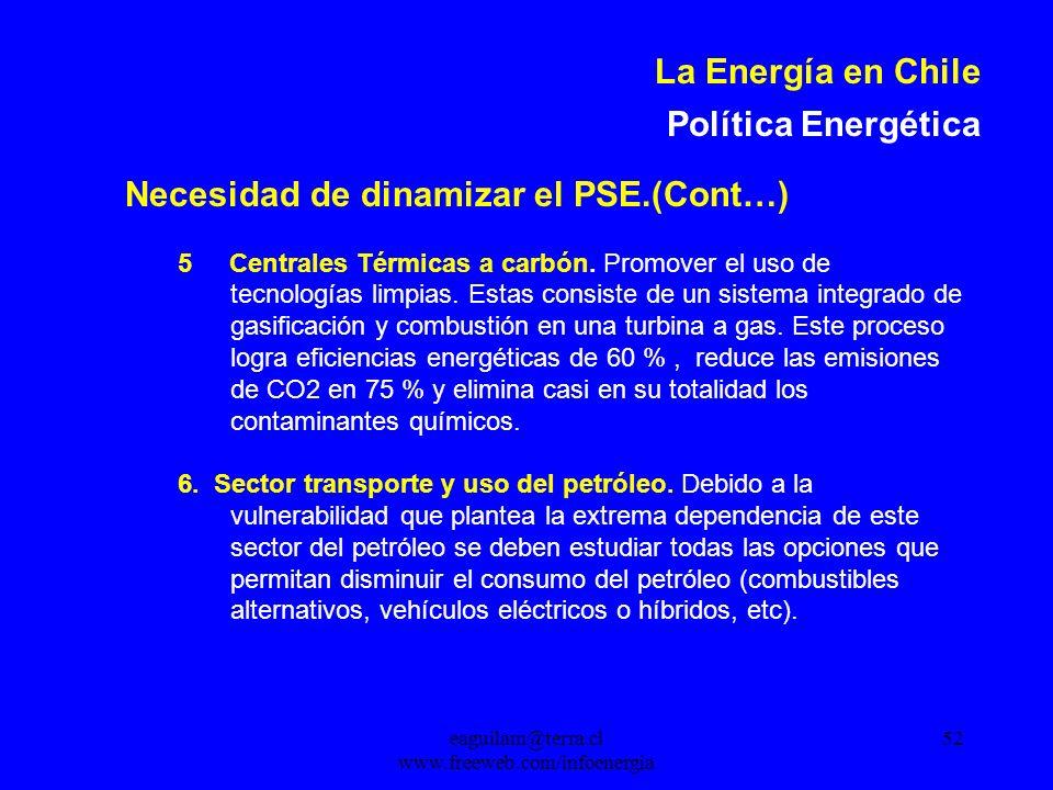 eaguilam@terra.cl www.freeweb.com/infoenergia 52 La Energía en Chile Política Energética Necesidad de dinamizar el PSE.(Cont…) 5 Centrales Térmicas a carbón.