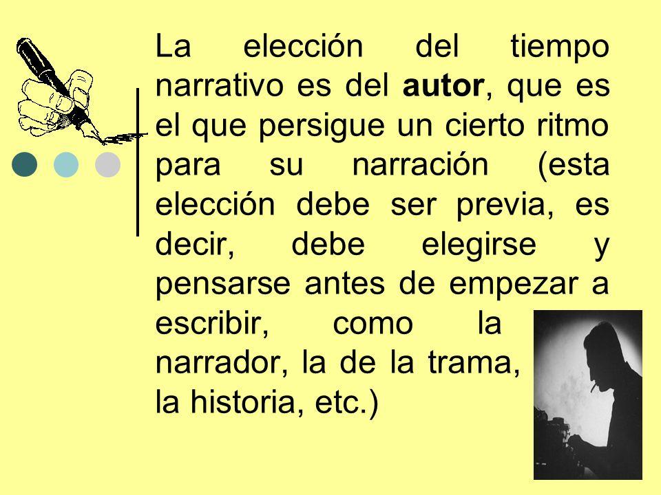 La elección del tiempo narrativo es del autor, que es el que persigue un cierto ritmo para su narración (esta elección debe ser previa, es decir, debe