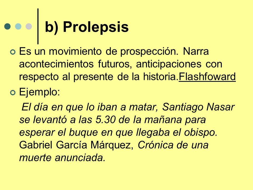 b) Prolepsis Es un movimiento de prospección. Narra acontecimientos futuros, anticipaciones con respecto al presente de la historia.Flashfoward Ejempl
