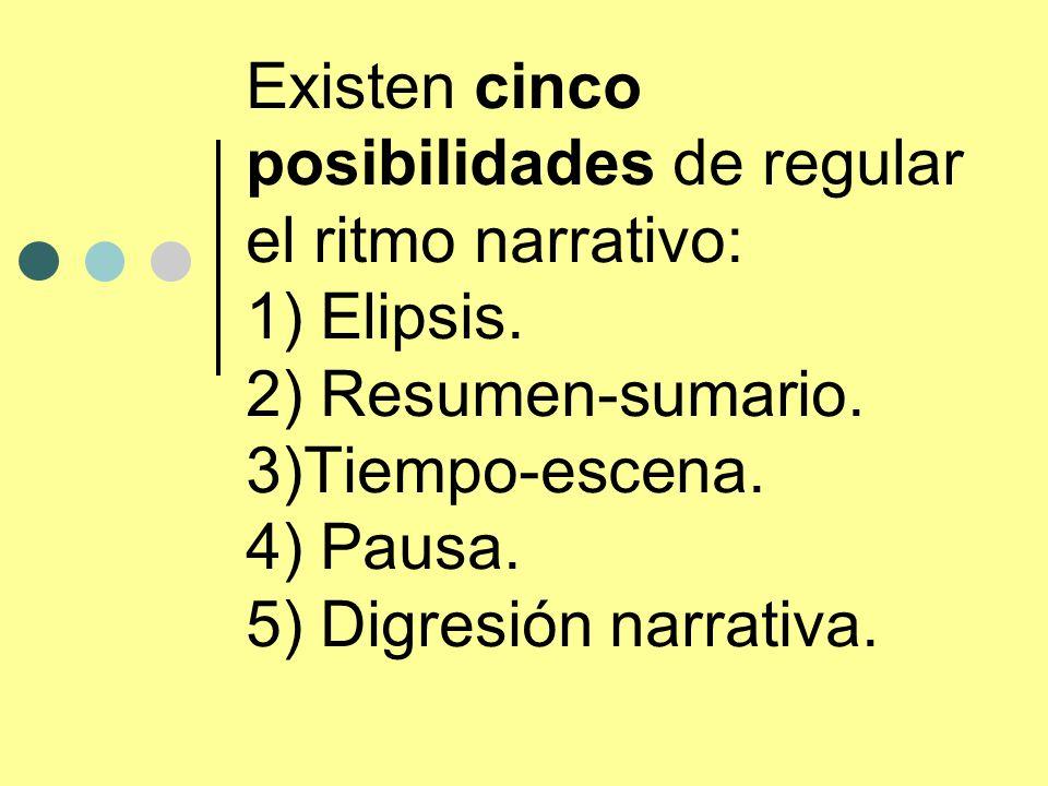 Existen cinco posibilidades de regular el ritmo narrativo: 1) Elipsis. 2) Resumen-sumario. 3)Tiempo-escena. 4) Pausa. 5) Digresión narrativa.