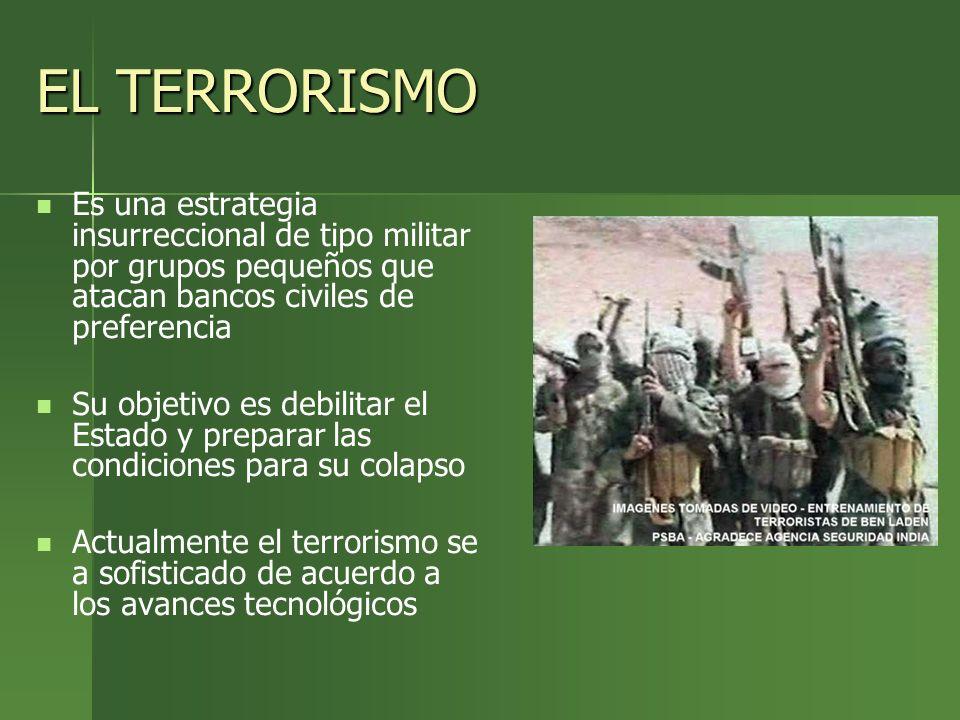 EL TERRORISMO Es una estrategia insurreccional de tipo militar por grupos pequeños que atacan bancos civiles de preferencia Su objetivo es debilitar e