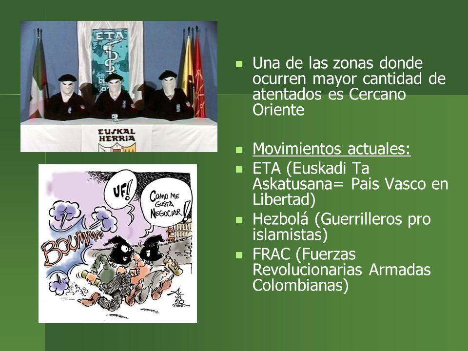 Una de las zonas donde ocurren mayor cantidad de atentados es Cercano Oriente Movimientos actuales: ETA (Euskadi Ta Askatusana= Pais Vasco en Libertad