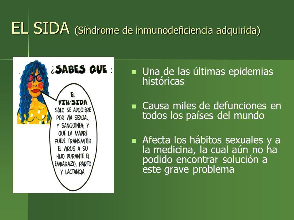 EL SIDA (Síndrome de inmunodeficiencia adquirida) Una de las últimas epidemias históricas Causa miles de defunciones en todos los países del mundo Afe