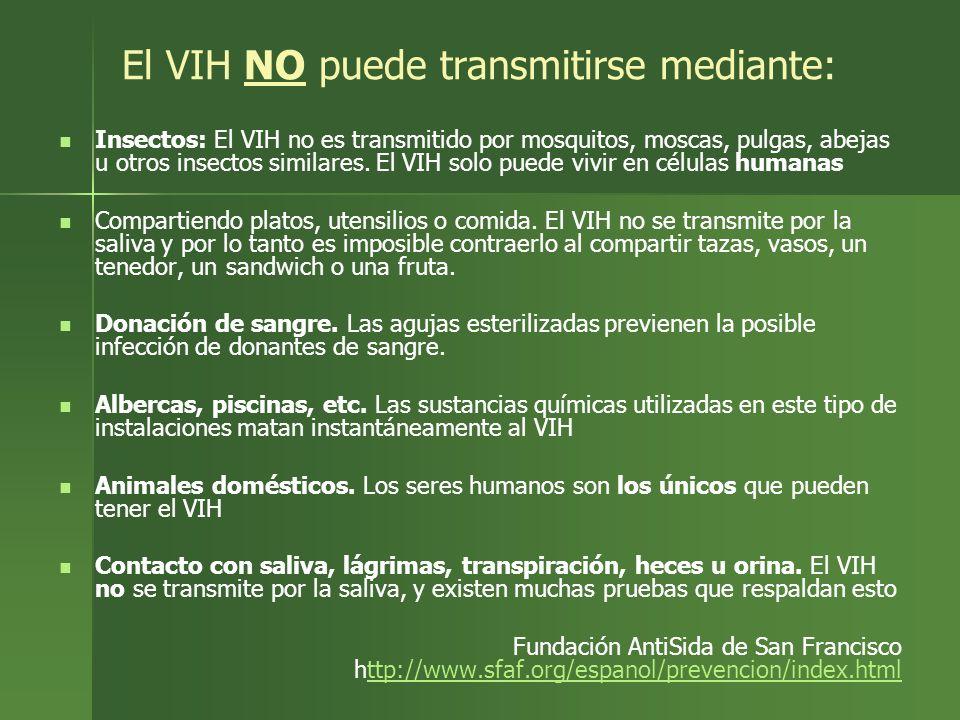 El VIH NO puede transmitirse mediante: Insectos: El VIH no es transmitido por mosquitos, moscas, pulgas, abejas u otros insectos similares. El VIH sol
