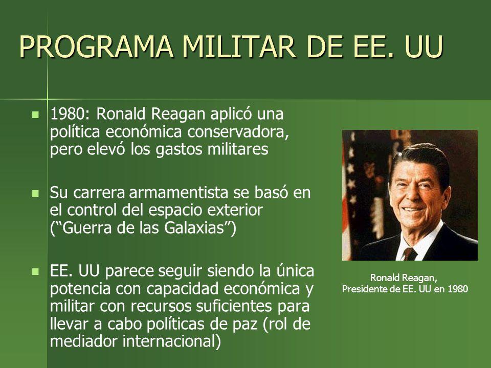 PROGRAMA MILITAR DE EE. UU 1980: Ronald Reagan aplicó una política económica conservadora, pero elevó los gastos militares Su carrera armamentista se