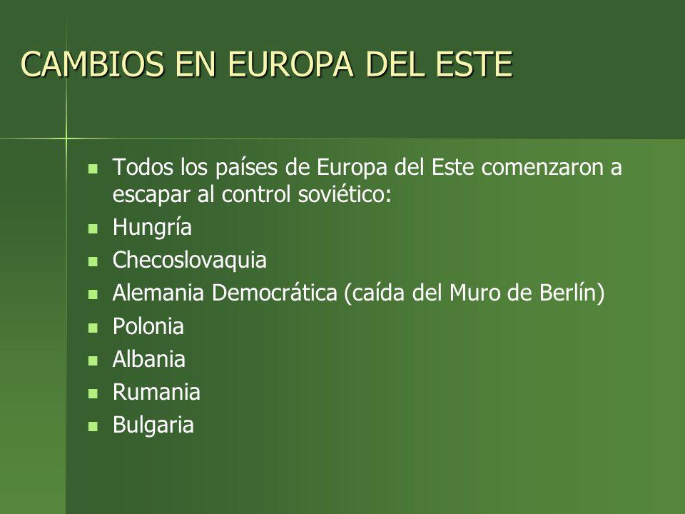 CAMBIOS EN EUROPA DEL ESTE Todos los países de Europa del Este comenzaron a escapar al control soviético: Hungría Checoslovaquia Alemania Democrática