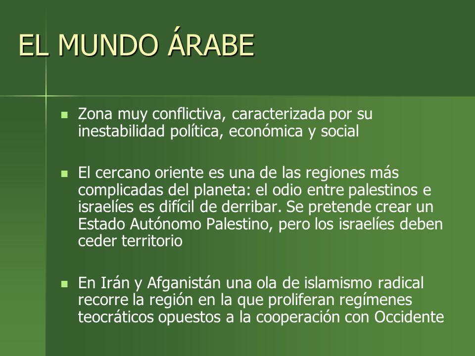 EL MUNDO ÁRABE Zona muy conflictiva, caracterizada por su inestabilidad política, económica y social El cercano oriente es una de las regiones más com