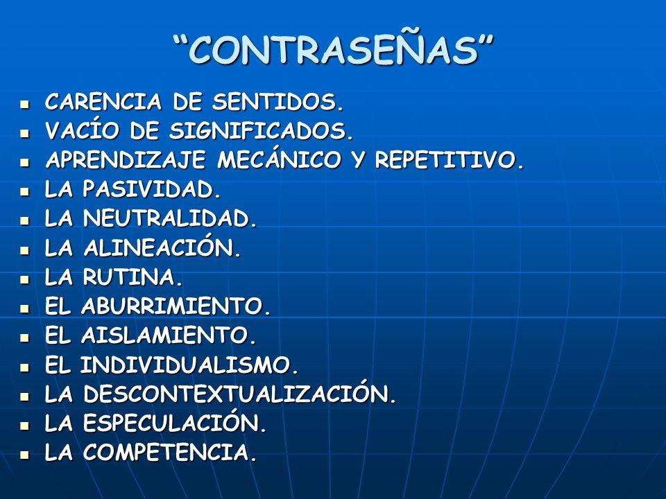 CONTRASEÑAS CARENCIA DE SENTIDOS. CARENCIA DE SENTIDOS.