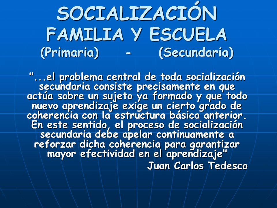 SOCIALIZACIÓN FAMILIA Y ESCUELA (Primaria) - (Secundaria)