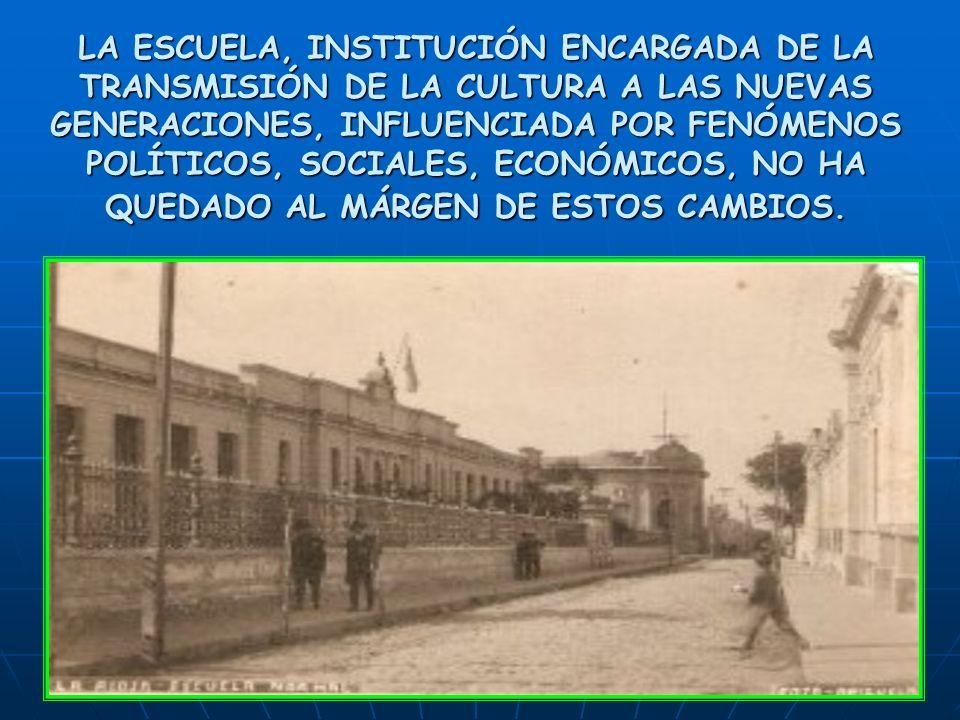 LA ESCUELA, INSTITUCIÓN ENCARGADA DE LA TRANSMISIÓN DE LA CULTURA A LAS NUEVAS GENERACIONES, INFLUENCIADA POR FENÓMENOS POLÍTICOS, SOCIALES, ECONÓMICOS, NO HA QUEDADO AL MÁRGEN DE ESTOS CAMBIOS.