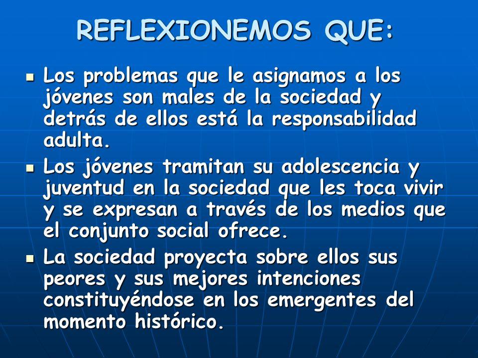 REFLEXIONEMOS QUE: Los problemas que le asignamos a los jóvenes son males de la sociedad y detrás de ellos está la responsabilidad adulta. Los problem